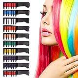 LYYDAN 10 Stück Haarfarbe Kamm Temporär Haarfarbe Kreide Kamm, Auswaschbar Ungiftig Haarkreide Kamm für Kinder Erwachsene Geburtstag Party und Cosplay