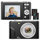 Digitalkamera 1080P HD Kompaktkamera 36 Megapixel Mini-Videokamera 2,4' LCD Digitalkamera wiederaufladbare Fotokamera mit 16X Digitalzoom für Studenten/Erwachsene/Kinder/Anfänger(schwarz)
