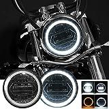 Kairiyard Runde Motorradscheinwerfer 5,75 ' LED Scheinwerfer CREE Chip 60W 6000LM 6000K/3000K Abblendlicht Fernlicht 9-30V HI LO Lichtstrahloptik Nebelscheinwerfer mit Schaltkabeln H4-H13 IP67.