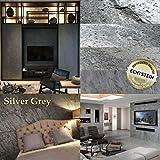 Wandverkleidung Schiefer Verblender Naturstein Steinwand - 7,44 m² KOMPLETT SET Silver Grey Musterstück - DIN A4