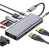 OOOL Gigabit Ethernet RJ45, SD/TF Kartenleser, USB C Adapter mit HDMI 4K, Thunderbolt 3