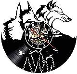 XYLLYT EIN Paar Wolfskopf Wald Wolf Porträt Vinyl Schallplattenuhr Erstaunliches Wolf Totem Wandkunst Home Decor Wolf Bewunderer Geschenk - Mit Led-licht