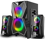 NJSJ 2.1 PC Lautsprechersystem mit Subwoofer Bluetooth Multimedia PC Lautsprecher Gaming LED Beleuchtung Heavy Bass,FM Radio,USB und SD für Computer,Filme,Desktop,Laptop,Handy,TV,Monitor,20W