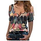 Eaylis Damen Casual Plaid Print Bluse Kurzarmhemden Mode V-Ausschnitt Reißverschluss Blusen Off Shoulder Top