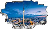 3D-Effekt Wandtattoo Aufkleber Durchbruch selbstklebendes Wandbild Wandsticker Wanddurchbruch Wandaufkleber Berlin Stadt Skyline Nacht Wanddeko fürs Kinderzimmer 50x79cm
