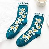 CYMTZ 5 Paare/Packung Frauen Retro Socken mit Blumendruck Mode Weiche Rüschensocken Mädchen Crew Socken Dunkelblau