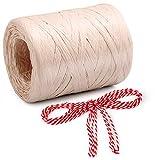 Natürliches Bast-Papierband und 4,5 m Baumwollfaden, Bindfaden, umweltfreundliches Geschenkband für Floristensträuße, Dekoration (Pink)