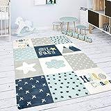 Paco Home Kinderteppich Teppich Kinderzimmer Spielmatte Babymatte Rauten Sterne Grau Blau Weiß, Grösse:80 cm Rund