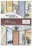 ITD Collection - Reispapier Kreativset A4 Decoupage Rice Paper Sheet 29,7 x 21 cm Serviettentechnik Mehrfarben (Old Cars)