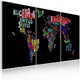 murando - Bilder Weltkarte 180x90 cm Vlies Leinwandbild 3 TLG Kunstdruck modern Wandbilder XXL Wanddekoration Design Wand Bild - Abstrakt Landkarte World Map schwarz bunt 020113-30