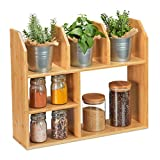 Relaxdays Bambusregal, 6 Fächer, HBT: 45,5 x 55 x 16 cm, stehend, für Küche, Bad & Wohnzimmer, Deko Aufsatzregal, Natur, 1 Stück