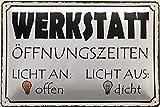Deko7 Blechschild 30 x 20 cm Werkstatt Öffnungszeiten - Licht an: offen - Licht aus: dicht