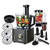TopStrong Küchenmaschine 1100W, Küchenmaschine Multifunktional, 3,2L Food Processor mit Zubehör inklusive Standmixer, Zerkleinerer, Zitruspresse, Knethaken, Mixer und Kaffeemühle