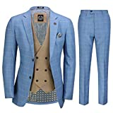 Xposed Herren 3 Stück Sky Blau Windowpane Karierte Anzug mit Retro Zweireihige Weste Maßgeschneidert[SUIT-GABIN-SKY-Blau-44]