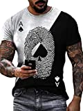 Männer Poker Print Tshirts Fashion Creative Ace of Spades Skull Poker Graphic Print Rundhals Slim Kurzarm Tshirts Color1 XXL Shirt