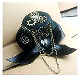 SSHZJUS Frauen schwarz Mini Steampunk Top Hut mit Getriebe Wollmütze Derby Hut for Männer Party Zubehör Hut Top Hut (Color : Schwarz, Size : 13cm)