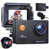 APEMAN Action Cam A79,4K WiFi 20MP Unterwasserkamera Digitale wasserdichte 40M Helmkamera (2.4G Fernbedienung und Webcam mit externem Mikrofon)