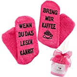 Top-Geschenk24.de Kuschelsocken (Fusselfrei) Kaffee Geschenk für Frauen, WENN DU DAS LESEN KANNST BRING MIR KAFFEE SOCKEN, Geburtstagsgeschenk für Freundin, Schwester-Geschenk, 36-42/43, Rosa-kaffee