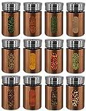 My-goodbuy24 Gewürzstreuer -12er Set - Salzstreuer Pfefferstreuer aus Glas & Edelstahl mit Dreh-Deckel und einem Stichtfenster Vorratsglas Gewürzdose Dose Streudose - Kupferfarbe