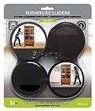 Slipstick Premium Möbelgleiter für alle Bodenflächen (16-teiliges Umzugsset), wiederverwendbar, 8,9 cm, runde Möbelgleiter für Schiebetüren auf Hartholz und Teppich, schwarz, CB13-1-16