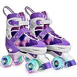 Gonex Verstellbar Rollschuhe für Kinder,mit Leuchtenden Rädern Roller Skates Bequem und atmungsaktiv Quad Skates für Mädchen,Anfänger (Größe 39-42)