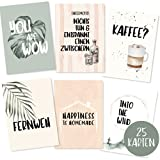 25er Postkarten Set mit schönen Sprüchen - Grußkarten Set mit Sprüchen über Liebe, Motivation, Familie und Freundschaft - Postkarten Sprüche - Spruchkarten Lebensweisheiten - Karten als Geschenk