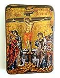 IconsGr Ikonenbild, auf Holz, handgefertigt, Motiv: Jesu' Kreuzigung, griechisch-orthodoxes Heiligenb