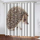 WXSSLN Vorhänge Igel Verdunkelungsvorhang mit Ösen Blickdicht Lichtdicht Wärmeisolierend Vorhänge Für Wohnzimmer Schlafzimmer 2er Set B75 x H166cm