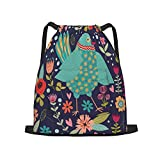 Sport-Rucksack mit abstraktem Vogel- und Blumen-Kordelzug, große Kapazität, für Sport, Yoga, Turnbeutel für Jungen, Mädchen, Kinder, Damen, Herren, Teenager