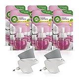 Air Wick Duftölflakon Vorteilspack - 2 Duftstecker mit 6 Nachfüllern - Blumiger Raumduft mit ätherischen Ölen - Duft: Seide & Lilienfrische - 6 x 20 ml Öl + 2 Geräte in Weiß