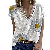 FrüHling/Sommer Damen Chrysantheme Spitze T-Shirt Kurzarm