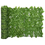 Festnight Balkon Sichtschutz mit grünen Blättern Windschutz Balkonverkleidung Balkonbespannung Sichtschutzhecke Terrasse Zaun 600x75cm