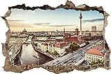 Wandtattoo Wandsticker Wandaufkleber 3D-Effekt Durchbruch Berliner Skyline Mit Fernsehturm für Babyzimmer Kinderzimmer 70x110cm