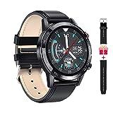 Microwear Herren Bluetooth Smartwatch,Geschenke für Männer,Wasserdicht Sportuhr,Touch-Farbdisplay,Fitness Tracker,Langlebige Batterie,für iOS Android (Black)