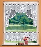 GardTex Scheibengardinen-Set mit Blumenmuster weiß