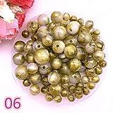 KEHUITONG New 8 10 12 14mm Farbe Goldpuder Runde Acryl Perlen Spacer lose Perlen for Schmucksachen, die DIY handgemachtes Armband (Farbe : 06, Item Diameter : 8mm(50pcs))