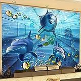 HGFHGD Selbstklebende 3D Shark Dolphin Unterwasserwelt TV Hintergrund Wandmalerei Wohnzimmer Kinderzimmer Schlafzimmer Foto Tapete Wandaufkleber