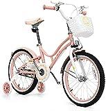 City Bike for Kid Kinderfahrrad, 16, 18 Zoll mit abnehmbaren Stützrädern, verstellbarem Sitz, Stahlrahmen, Kinderfahrrad mit Handbremse für Notbremsung, für 4-9 Jahre alte Kleinkindmädchen Jungen