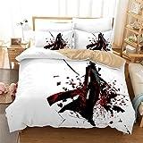 Bettwäsche 155x220,Devil May Cry Muster Bettwäsche,Bettwäsche Set 3 Teilig Bettbezüge Mikrofaser,3D Bettbezug mit Reißverschluss 2 Kissenbezug 80x80cm