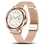 smartwatch Damen,Yocuby Fashion smartwatch Multi-UI Selection Full Touch Color Screen IP68 Waterproof Heart Rate Monitor Pedometer Sleep Monitor Smartwatch for Android and iOS Phones (Gold)