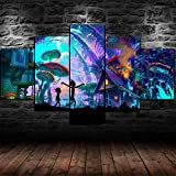 13Tdfc Mit Rahmen Vlies Leinwanddrucke 5 Teilig Kunstdruck Leinwand Bild XXL Format Wandbilder Wohnzimmer Wohnung Deko 150X80Cm,Gerahmter Rick Und Morty Pilz Trippy Geschenk