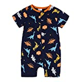 Baby Strampler Jungen Mädchen Reißverschluss Pyjama Baumwolle Tierdruck Kurz Overall Outfits Dinosaurier Navy Orange 6-9 Monate/73