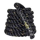 Display4top 38mm Battle Rope 9/12/15M Schwarz Fitness Trainingsseil Sportseil Schlagseil für Sprung- Kletterübungen oder Tauziehen (38mm * 9m)