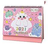 lejia 1pc Cartoon Tischkalender Tischkalender Zeitplan Planer 2.020,08 bis 2.021,12 (Color : F)