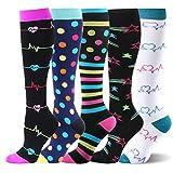 Kompressionsstrümpfe Sneaker Socken Herren Damen Laufsocken Sprunggelenkschutz und Mittelfußstütze für Laufen Radfahren Erholung Blutzirkulation, 5 Paar- B Mehrfarbig, L-XL