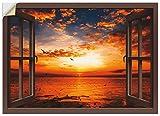 Artland Wandbild selbstklebend Vinylfolie 70x50 cm Wanddeko Wandtattoo Fensterblick Fenster Sonnenuntergang Strand Meer Ozean Küste T6CE