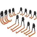 N\C Garagenhaken Set Gartengeräte Metallhaken 12 Wandhaken mit 2 Verlängerungskordel Aufbewahrungsgurte orange