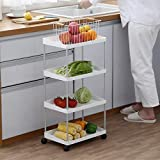Große Kapazität 4-stufige schlanke Küche Lagerwagen Turm Schrank mit ausziehbarem Regal Kleine bewegliche Kunststoffregale Badezimmer mit kleinem Raum Organizer