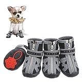 Firtink 4Pcs Hundeschuhe pfotenschutz mit Anti-Rutsch Sohle reflektierendem Riemen Klettverschluss Reißverschluss wasserdicht Schneeschuhe für kleine H