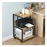 GAXQFEI Print Racks 3 Shelf Mobile Printer Stand Paper Organizer 3D Drucker Medienwagen Mit 4 Schwenkrädern Desktopständer Für Drucker,Black-C